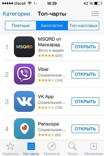 Приложение Маскарад (MSQRD) для айфона
