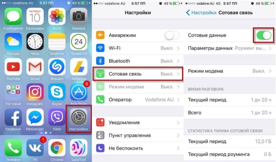 Как включить/отключить 3G (4G) на айфоне