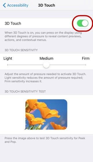 как включить 3d touch