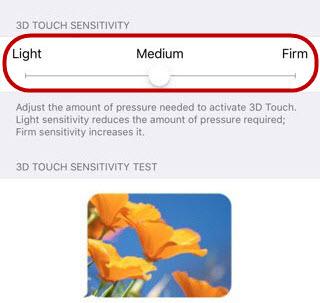 настройка 3d touch