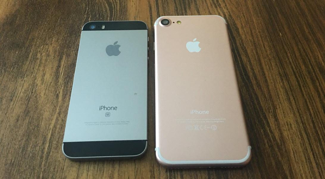 Сравнение внешнего вида айфона 7 и SE