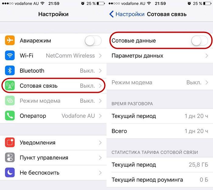 отключение мобильного интернета н айфоне