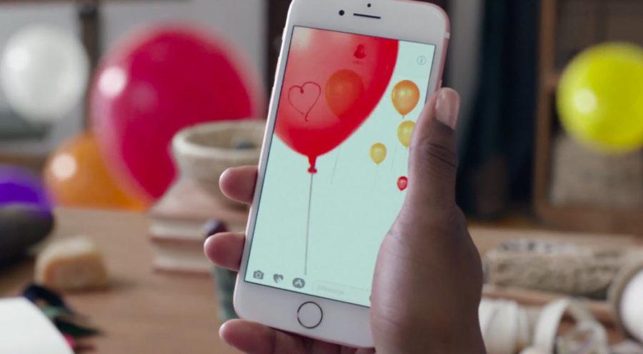 шарики в сообщении на айфоне