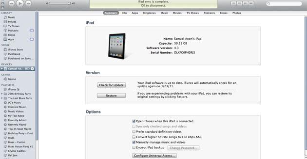 iPad в iTunes