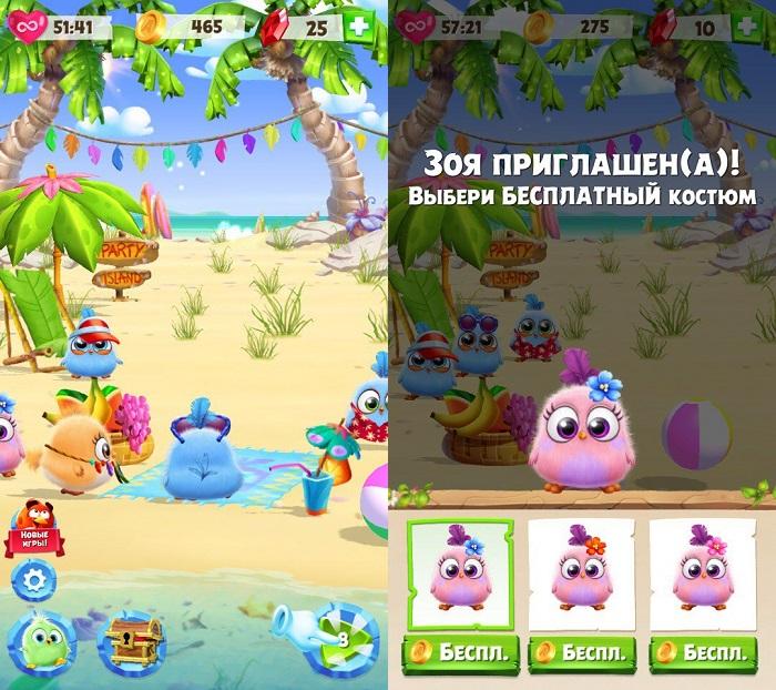 Главное меню в Angry Birds Match