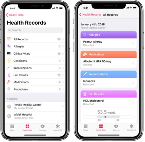 Health Records в iOS 11.3