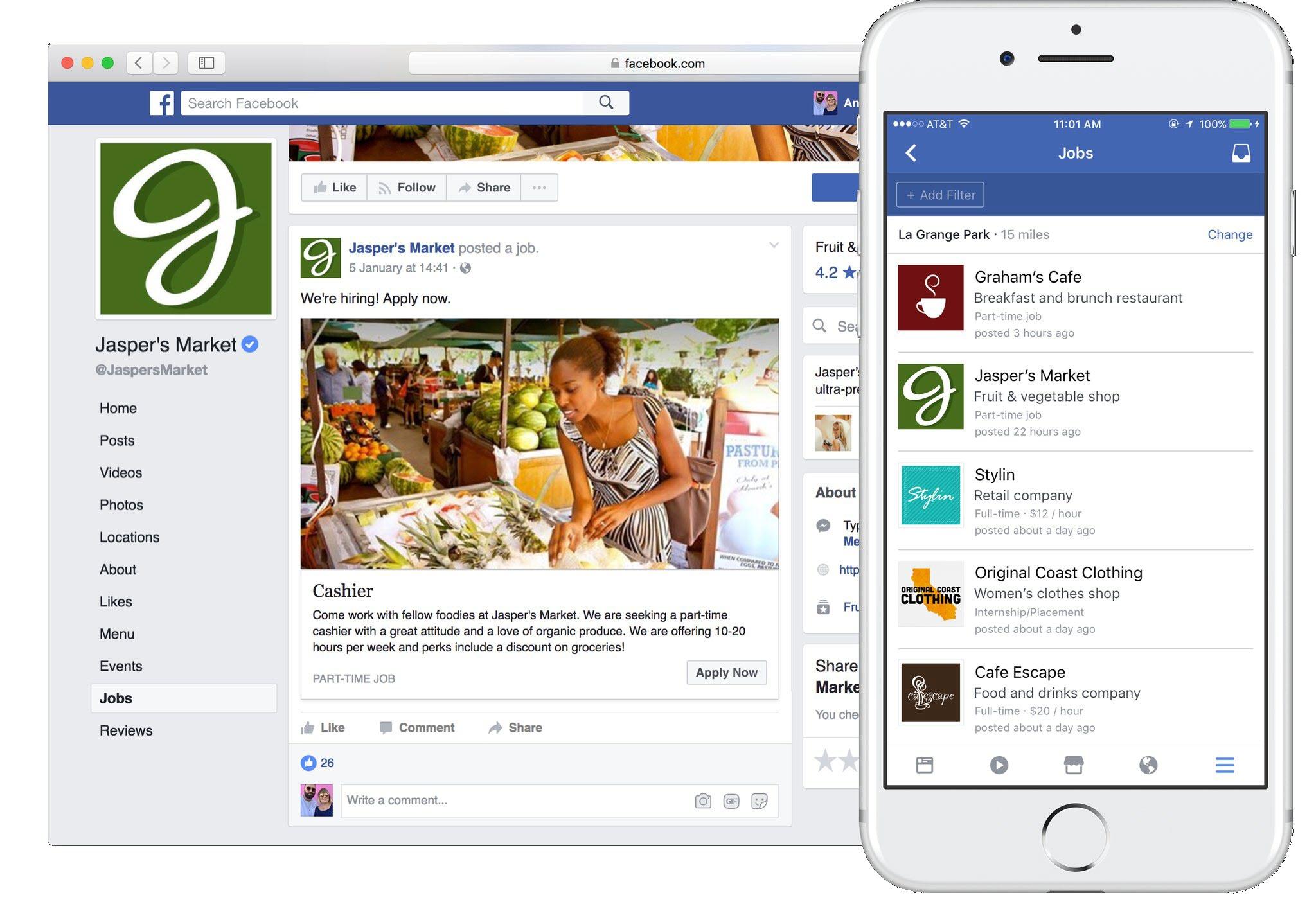 Интерфейс утилиты для поиска работы в Facebook