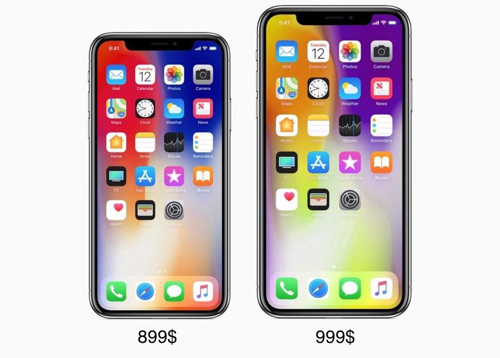 Предположительные цены на iPhone X и iPhone X Plus