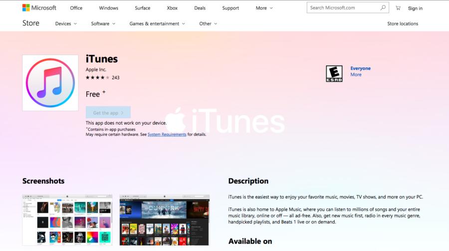 iTunes в Windows Store