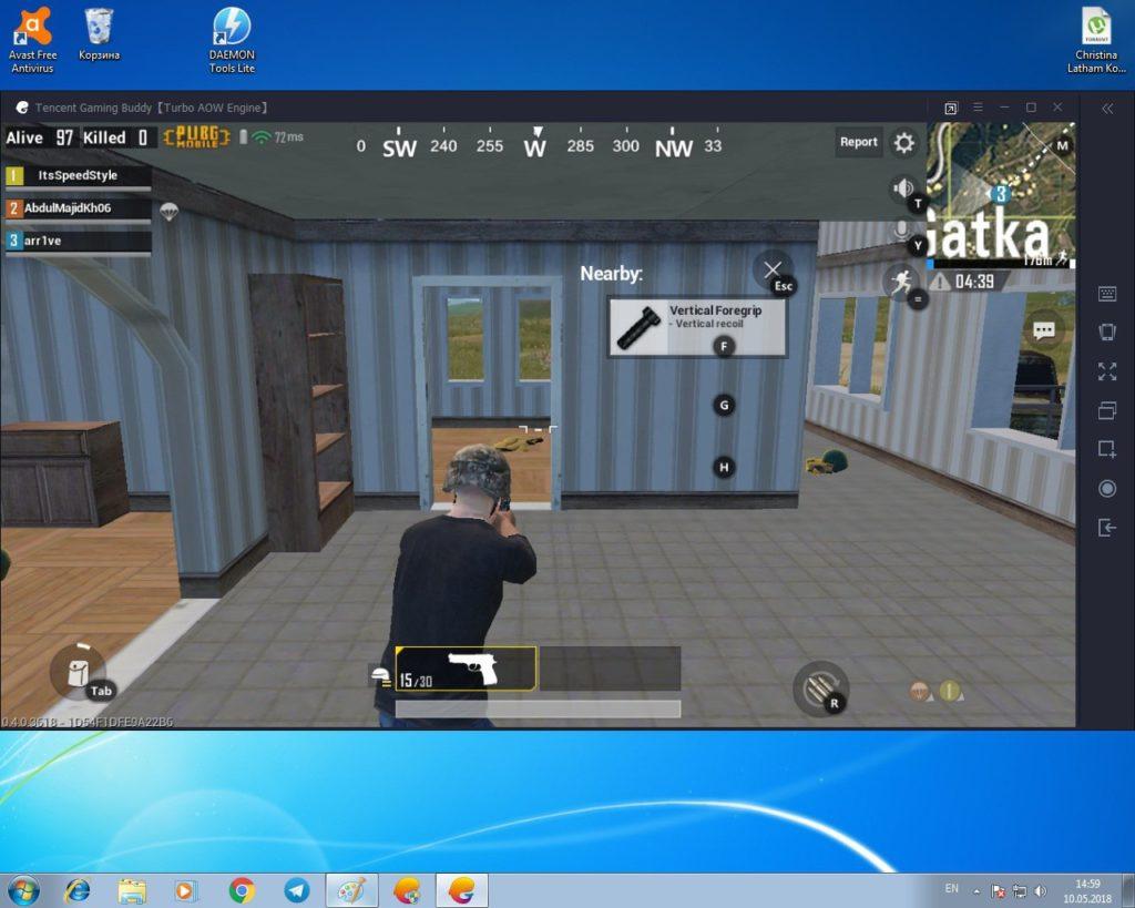 Запущенный PUBG Mobile на Windows 7 (x64)