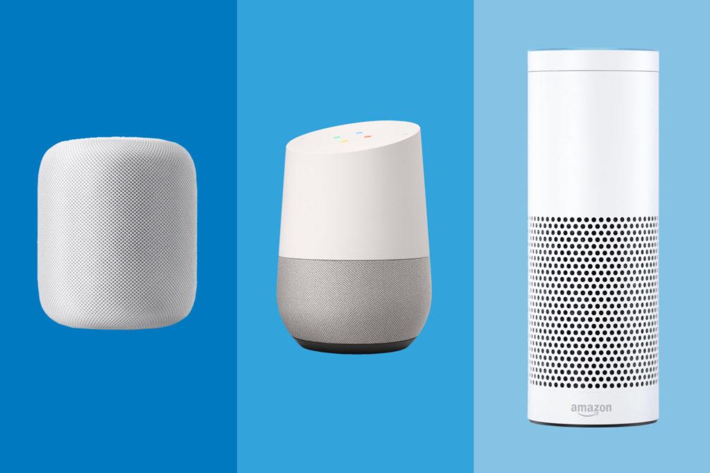HomePod, Google Home, Amazon Echo