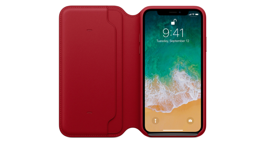 Кожаный чехол Folio для iPhone X, (PRODUCT)RED