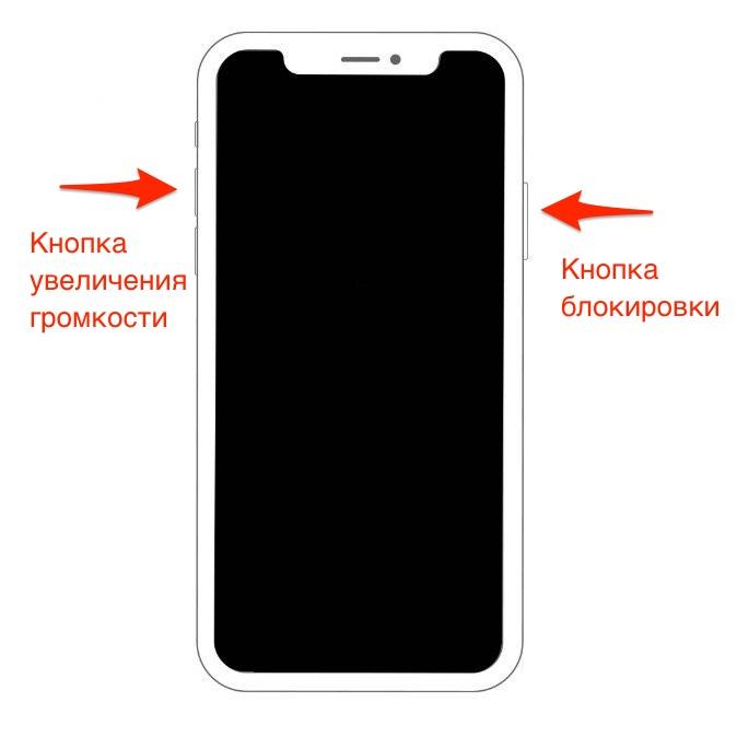 Создание скриншота на iPhone Xs/iPhone Xs Max или iPhone Xr