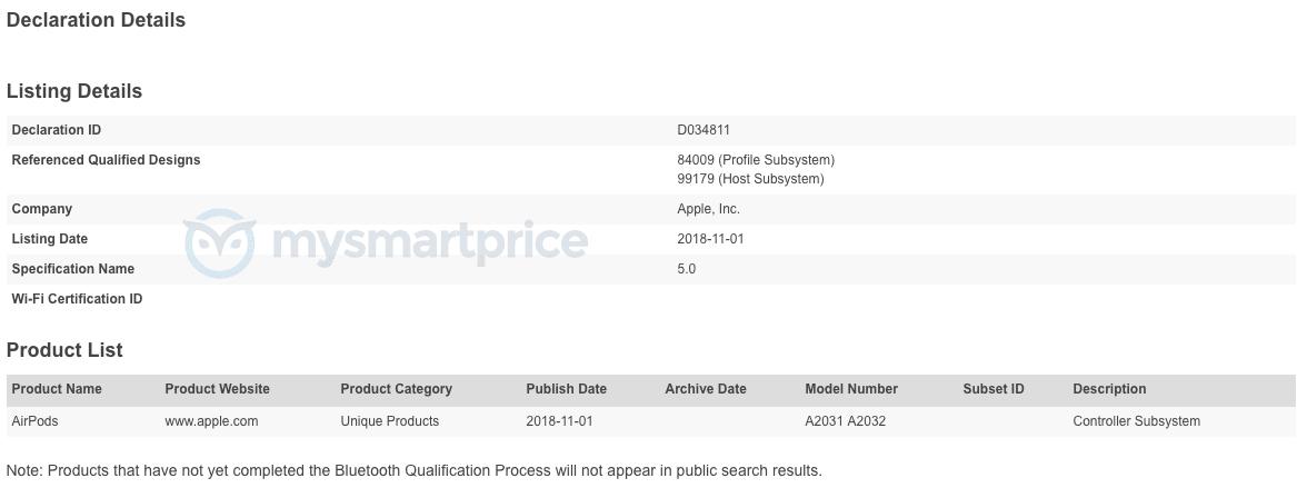Зарегистрированные AirPods 2 в организации Bluetooth SIG