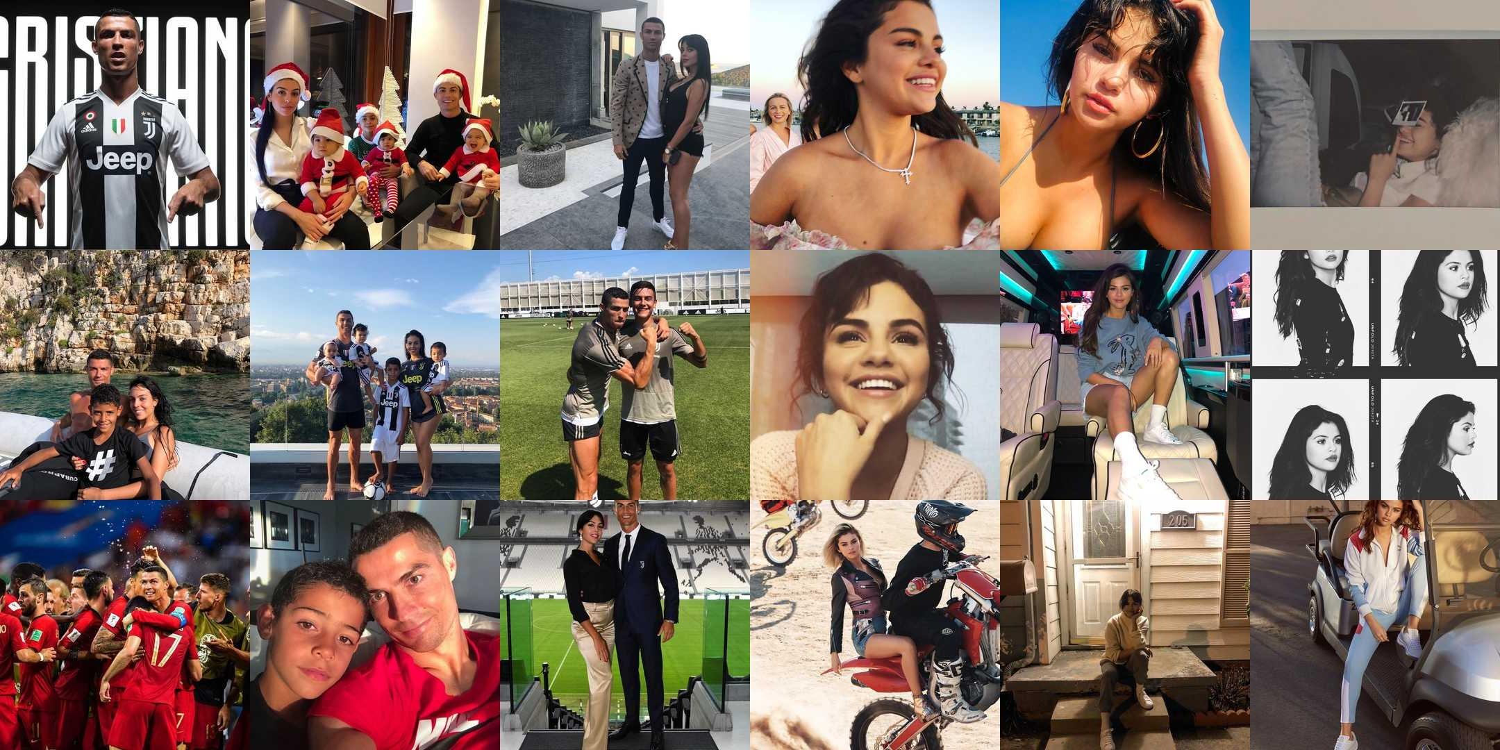 Лучшие 9 фото в Инстаграм за 2018 год Криштиану Роналду и Селены Гомес