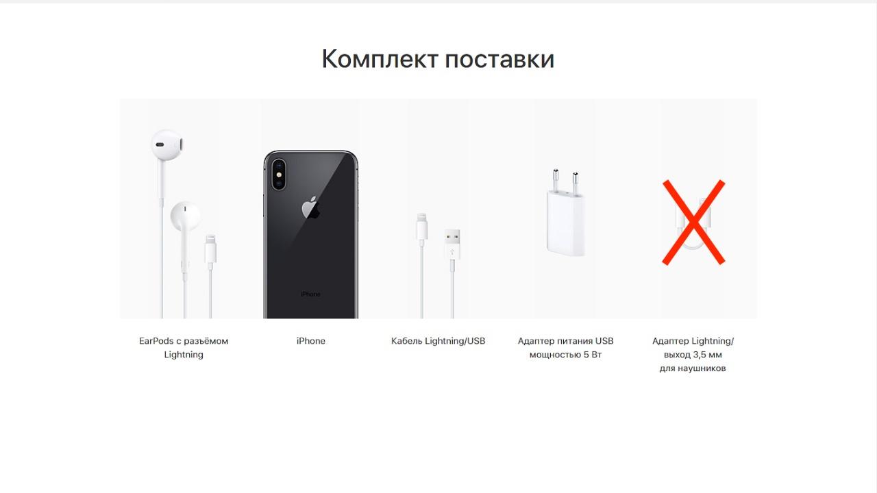 Комплектация коробки старого варианта iPhone X (10), для ref версии нету адаптера на 3,5 мм