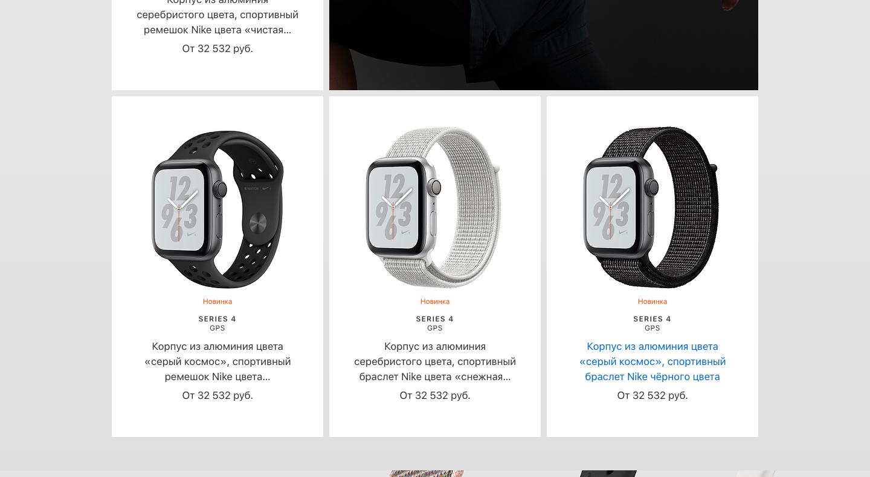 Виды ремешков Apple Watch Series 4 Nike+