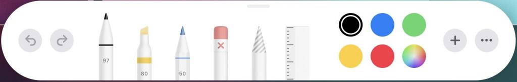 Панель инструментов для редактирования скриншотов на iPad