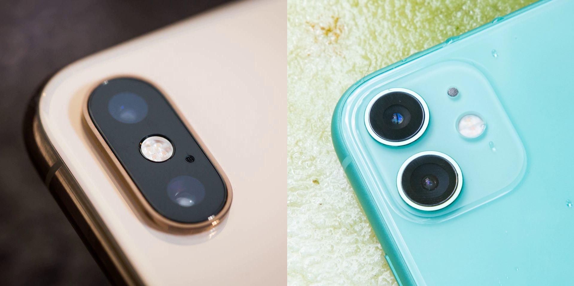 Слева камера iPhone Xs, справа камера iPhone 11