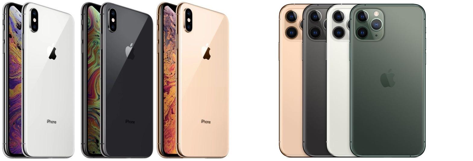 Цвета корпусов iPhone Xs и iPhone 11 Pro